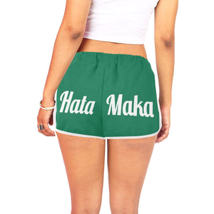 Hata Maka White Official Green Women's All Over Print Relaxed Shorts