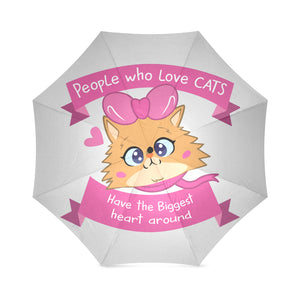 Lolo Quote - People who Love Cats have the Biggest Heart Around Foldable Umbrella-Foldable Umbrella-[Color]-[Size]-Kucicat