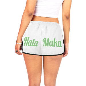 Hata Maka Green Official White Women's All Over Print Relaxed Shorts