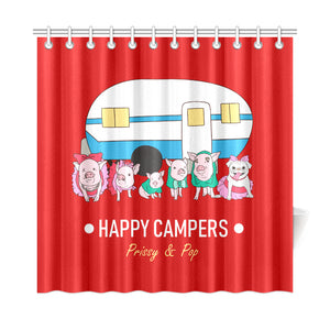 "Prissy & Pop Happy Campers Shower Curtain 72""x72"""