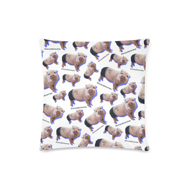 "Prissy Pig All Over Zippered Pillow Case 16""x16""(Twin Sides)"