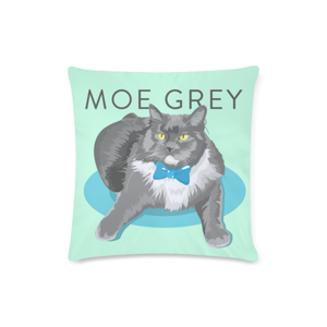 "Moe Grey Custom Zippered Pillow Case 16""x16""(Twin Sides)-Pillow Case 16""x16""-One Size-Kucicat"