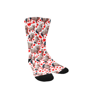 Prissy Pig Heart All Over Print socks
