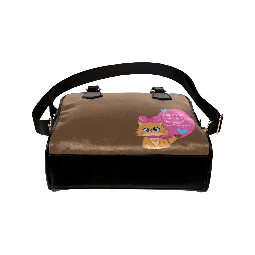 Lolo Quote - People who love Cats have the Biggest Heart Shoulder Handbag-Kucicat