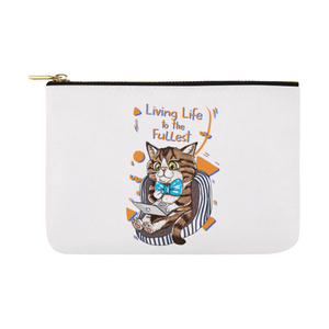 "Rexie Cat - Living Life to the Fullest Pouch-Accessory Pouches-12.5"" x 8.5""-Rexie Cat- Living Life to the Fullest Carry-All Pouch 12.5''x8.5''-Kucicat"