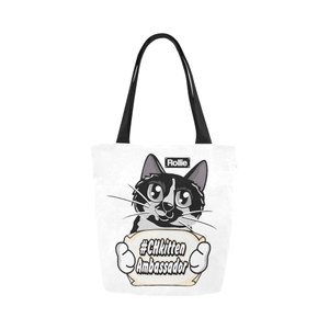 Rollie CH Kitten Ambassador Canvas Tote Bag-Canvas Tote Bag (1657)-One Size-Kucicat