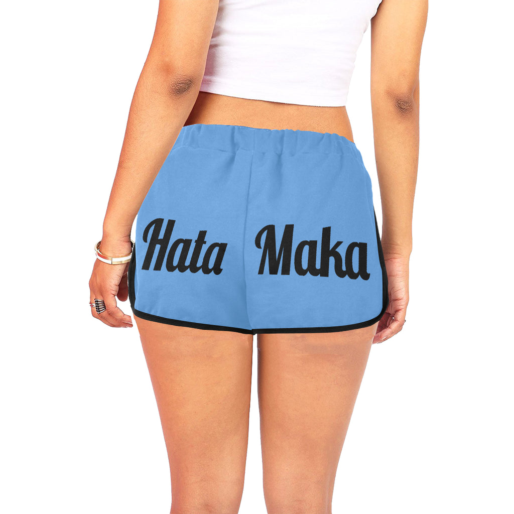 Hata Maka Black Official Blue Women's All Over Print Relaxed Shorts