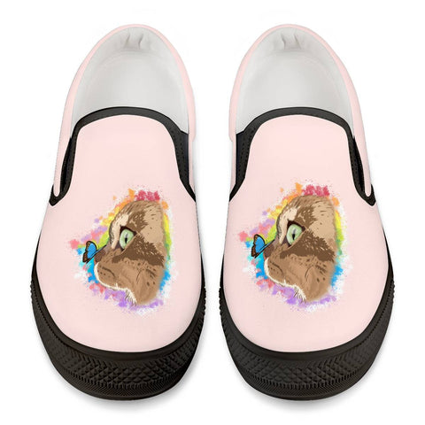 Farfor and Butterfly My Lulu Cat Official Black On Slip Shoes Black Slip On Shoes