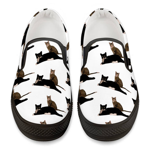 Kissy Kabu Official All Over Print Black Slip On Canvas Shoes Black Slip On Shoes