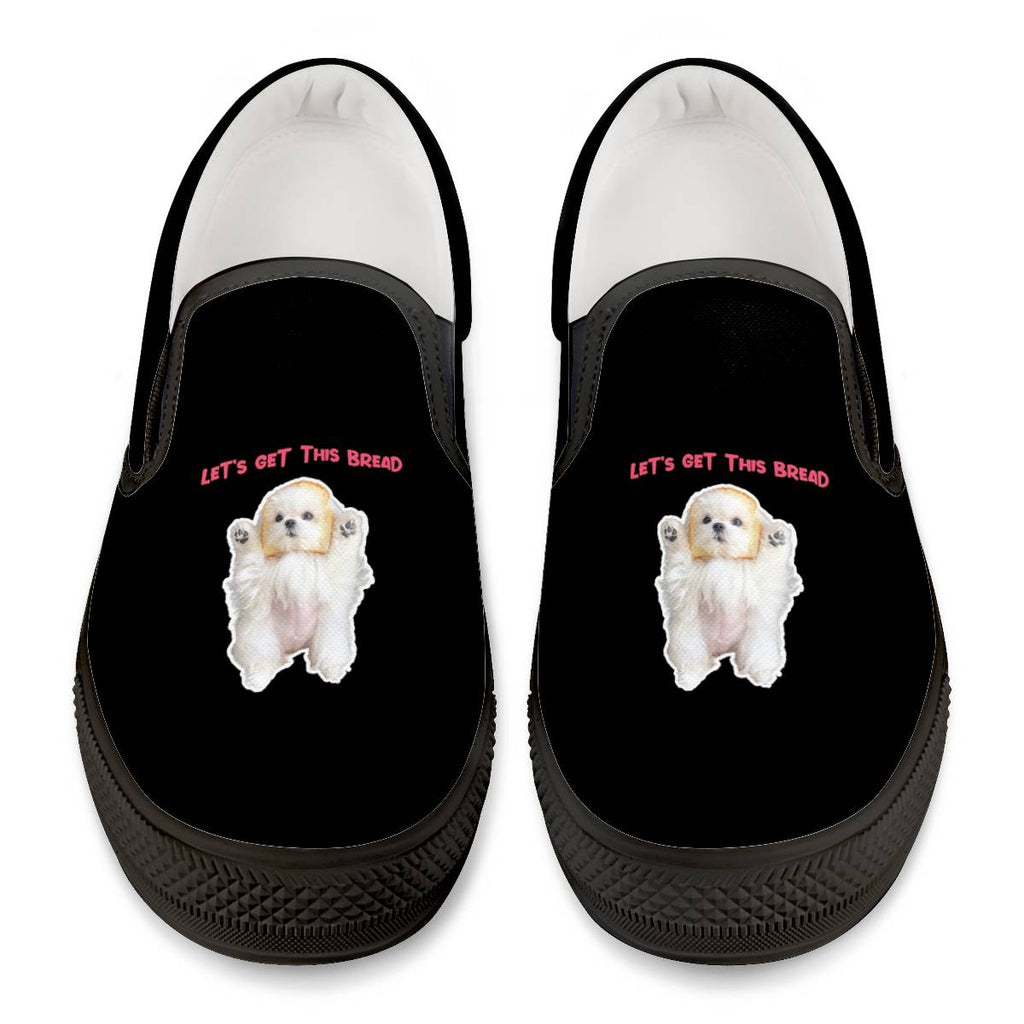 Coco The Maltese Dog Let's Get This Bread Official  Slip On Shoes Black Slip On Shoes