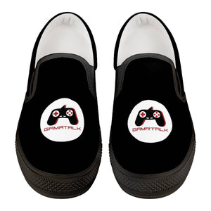 GAMRTALK White Logo Official Black Slip On Shoes