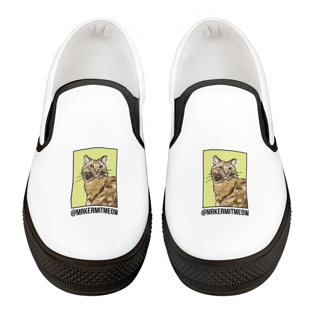 Mr. Kermit Meow Official Black Slip On Shoes