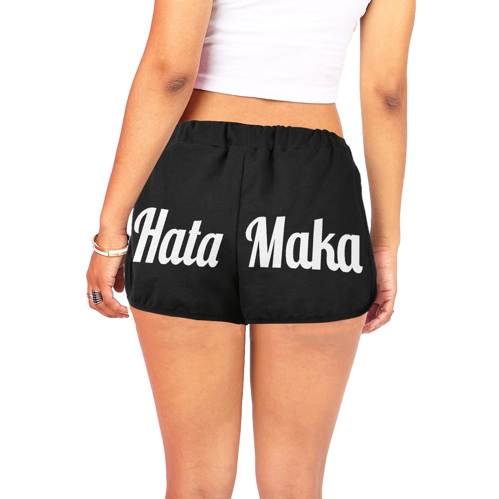 Hata Maka White Official Black Women's All Over Print Relaxed Shorts