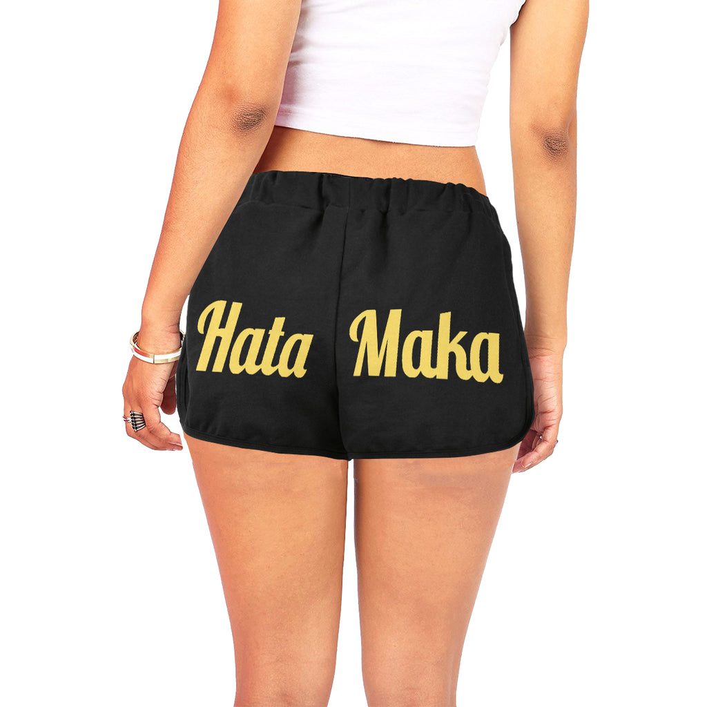 Hata Maka Yellow Official Black Women's All Over Print Relaxed Shorts