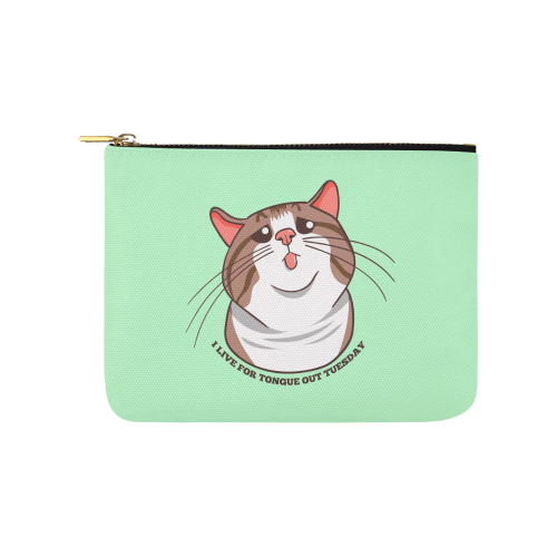 Rexie Cat I live For Tongue Out Tuesday Pouch-One Size-Rexie Cat I Live For Tongue Out Tuesday Carry-All Pouch 8''x 6''-Kucicat
