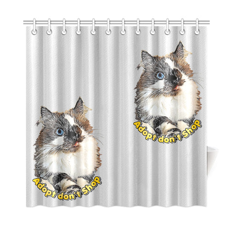 "Cricket Adopt Don't Shop Shower Curtain 72""x72"""