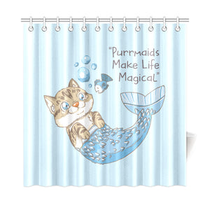 "Roo Purrmaids Shower Curtain 72""x72"""