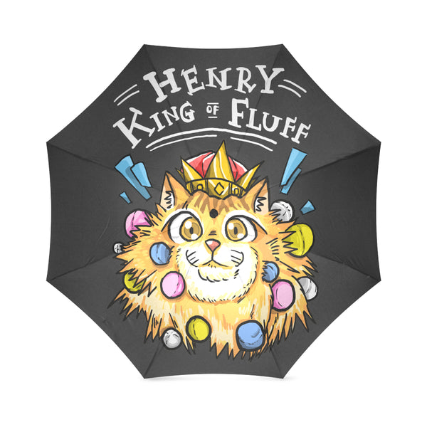 Henry King of Fluff - White Text Foldable Umbrella-Foldable Umbrella-[Color]-[Size]-Kucicat