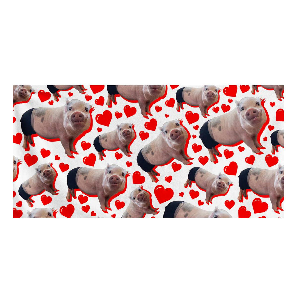Prissy Pig Heart All Over Official Bath Towel