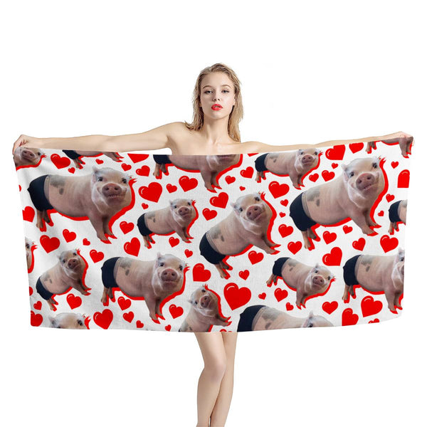 Prissy Pig Heart All Over Official Beach Towel