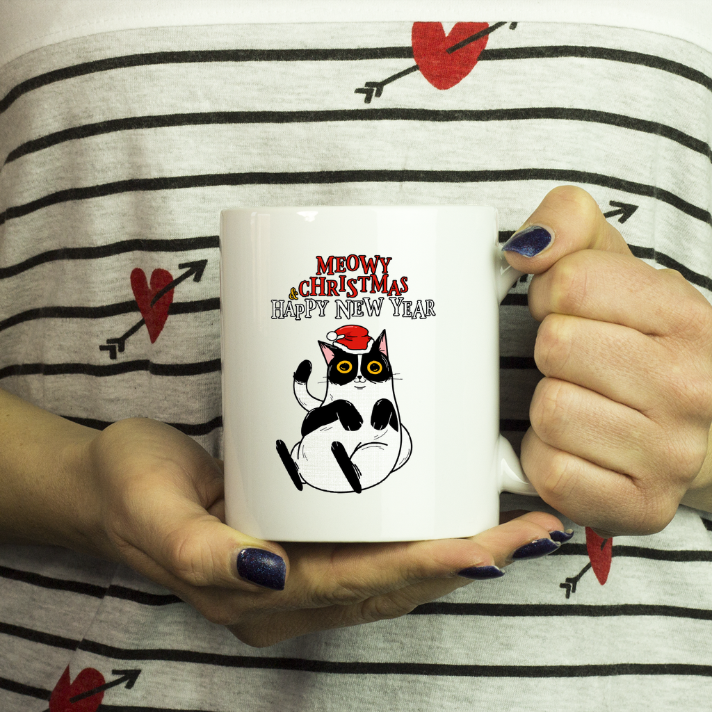 Meowy Christmas and Happy New Year Cat Mug-Drinkware-Meowy Christmas and Happy Mew Year-Kucicat
