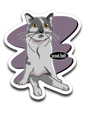 Scoot Butt Cat Sticker Decals