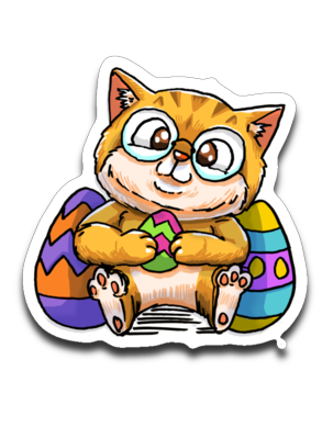 Nedi The Nerdy Cat with Easter Egg Sticker-Sticker-Kucicat