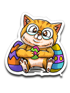 Nedi The Nerdy Cat with Easter Egg Sticker