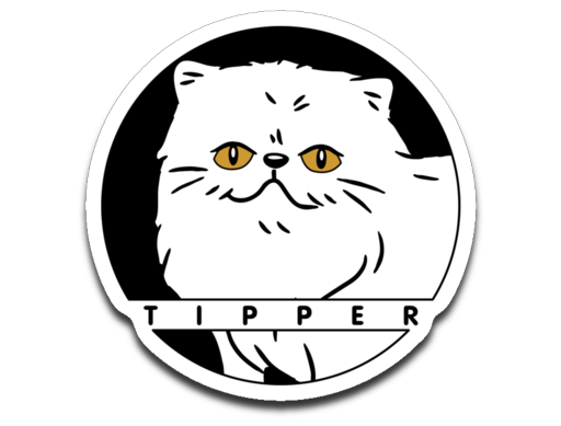 Tipperandco Persian White Cat Sticker Decal-T-shirt-Kucicat