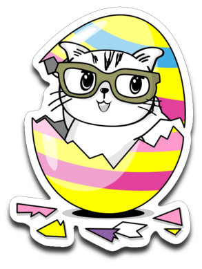 Kiki the Kind Cat Easter Decals Cracked from an Egg Stickers