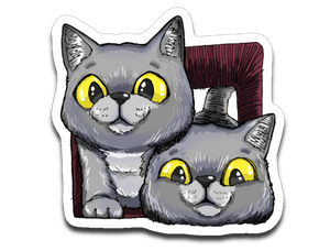 Exo and Exi the Excited Cats Sticker Decal-Sticker-Kucicat