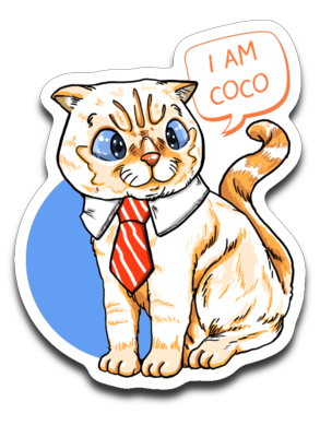 I Am Coco Cat with Tie Stickers Decals-Sticker-Kucicat