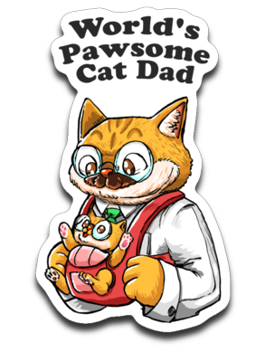 Cat Dad Sticker Decal World's Pawsome Cat Dad-Sticker-Kucicat
