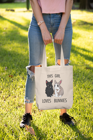 Tiffoco - This Girl Loves Bunnies Canvas Tote Bag
