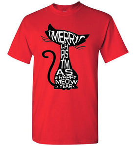 Merry Christmas and Happy Meow Year Men's T-shirt X to 5XL-T-shirt-Kucicat