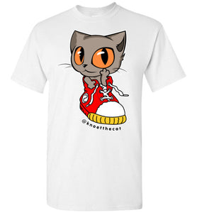 Knoet Cat Kids T-shirt On The Shoes-T-shirt-White-Youth XS-Kucicat