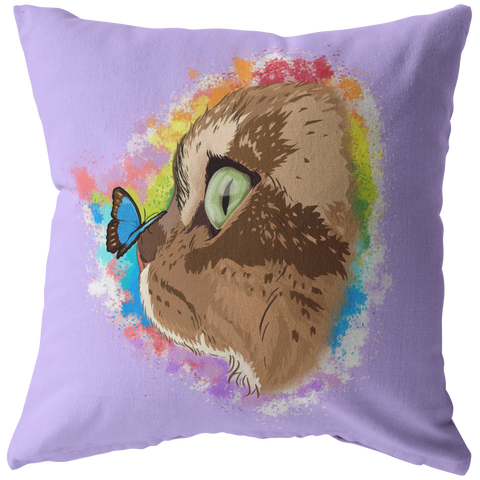 "Farfor and Butterfly My Lulu Cat Official Zippered Pillow Case 16""x16"" (One Sided)"
