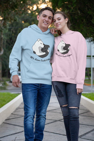 VO Beautiful Dogs Love Each Other Couple Hoodie