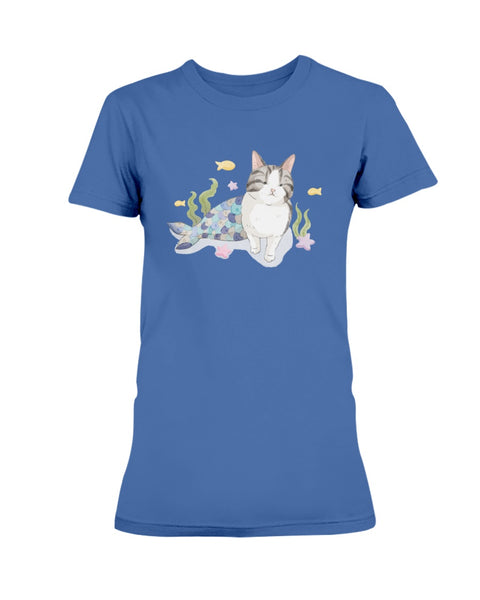 Rocky Purrmaid Watercolor Ladies T-Shirt