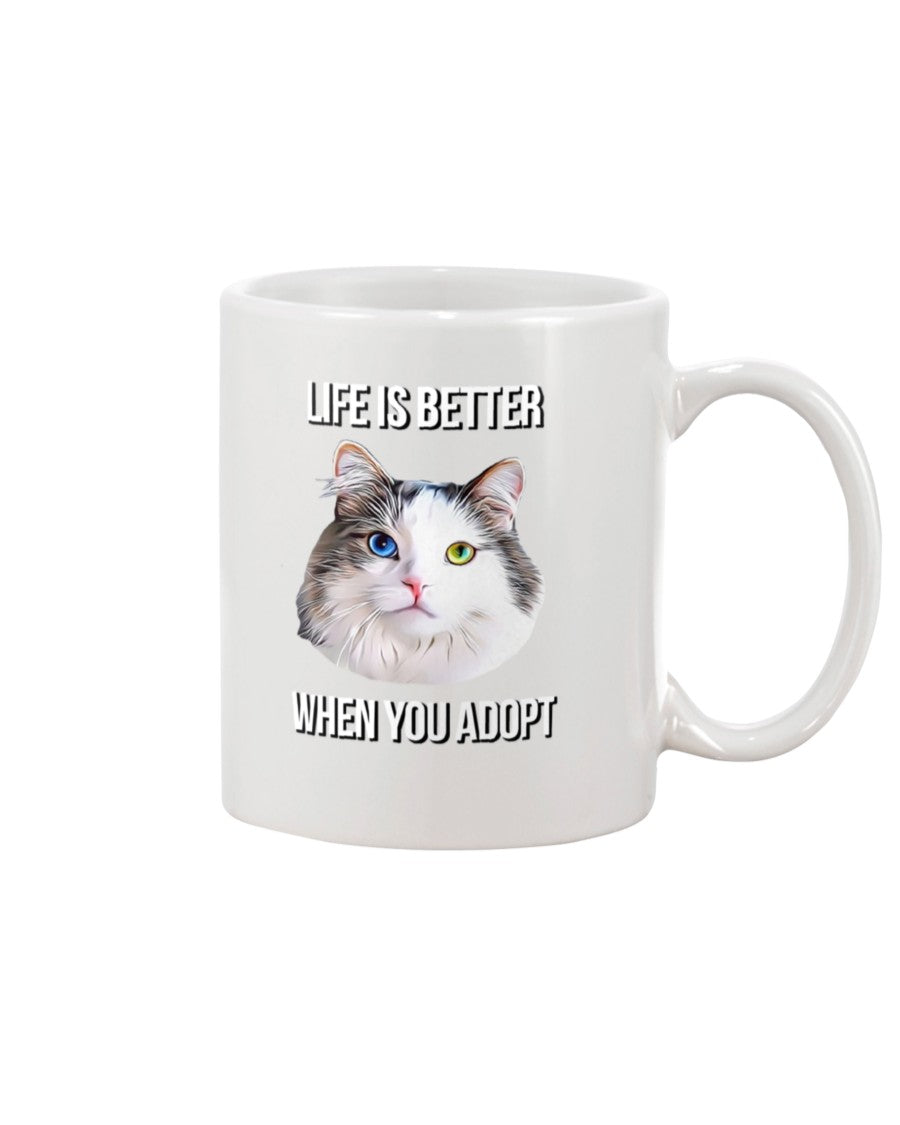 Bowie The Cat - Life is Better When You Adopt Mug
