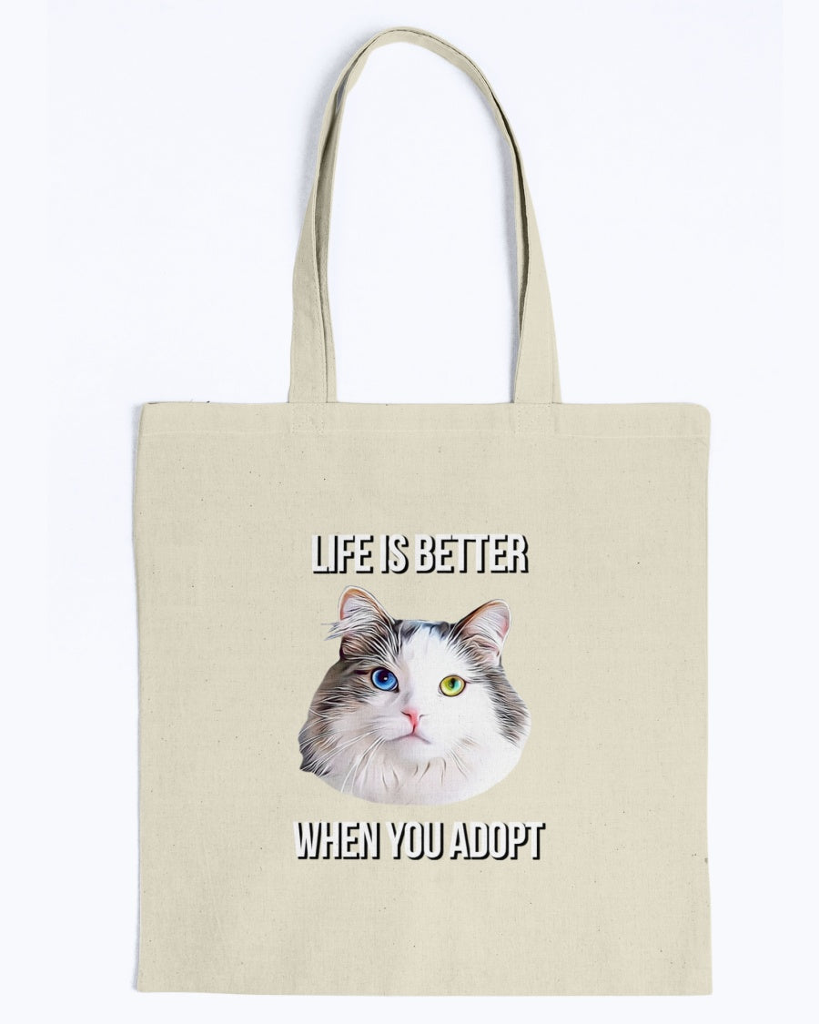 Bowie The Cat - Life is Better When You Adopt Canvas Tote Bag-Kucicat