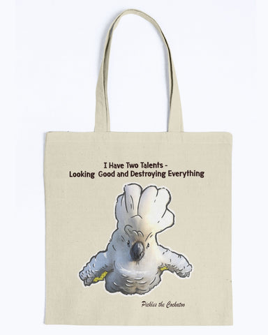 Pickles The Cockatoo Canvas Tote Bag-Kucicat