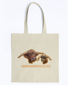 Buckley The Highland Cow Canvas Tote Bag-Kucicat