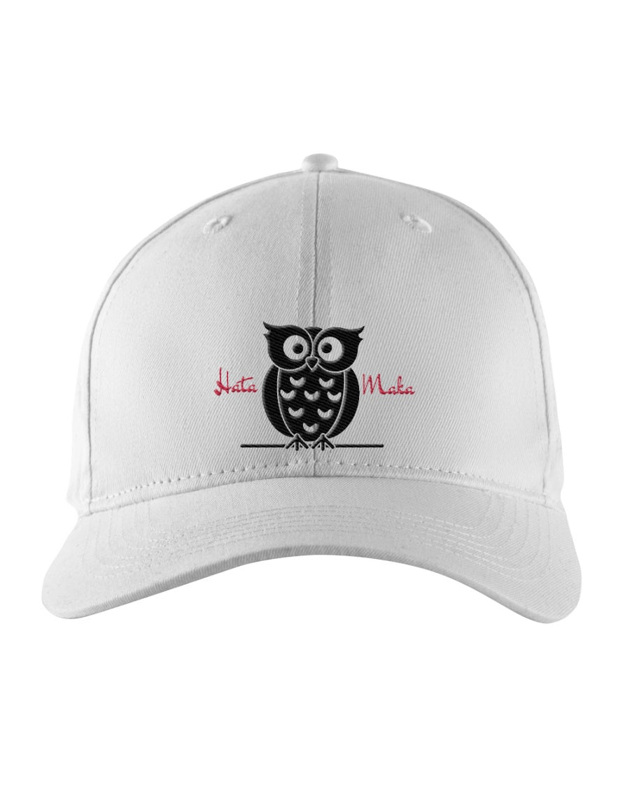 Hata Maka Black Owl Official White Snapback Trucker Cap