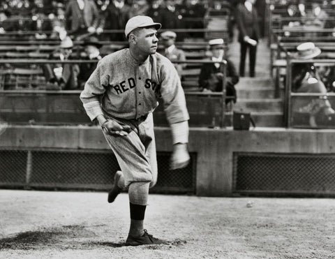 babe ruth pitching without an elevated pitching mound