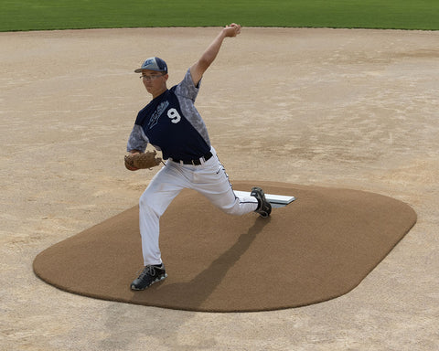 pitch pro model 8121 clay game pitching mound with pitcher delivering pitch