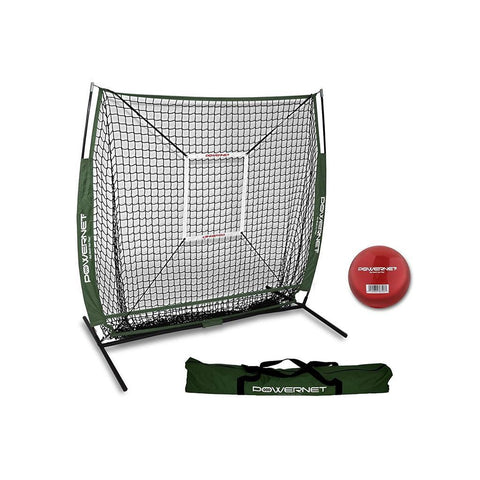 PowerNet 5x5 Practice Net + Strike Zone + Weighted Training Ball Bundle for Baseball Softball