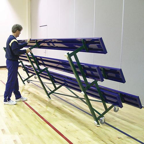2 Row 7½'' Tip & Roll Portable Aluminum Bleacher - Pitch Pro Direct
