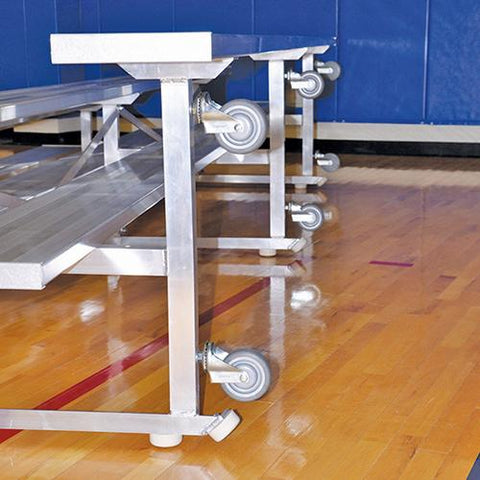 JayPro 15' Tip & Roll Standard Bleacher 3 Row Back View