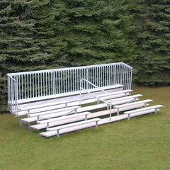 JayPro 5 Row Enclosed Bleacher w/ Guard Rail & Aisle Natural Finish